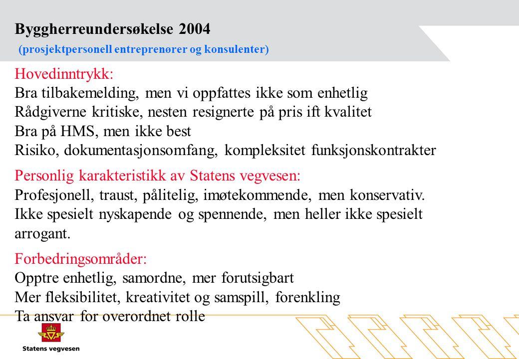 Byggherreundersøkelse 2004 (prosjektpersonell entreprenører og konsulenter) Hovedinntrykk: Bra tilbakemelding, men vi oppfattes ikke som enhetlig Rådg