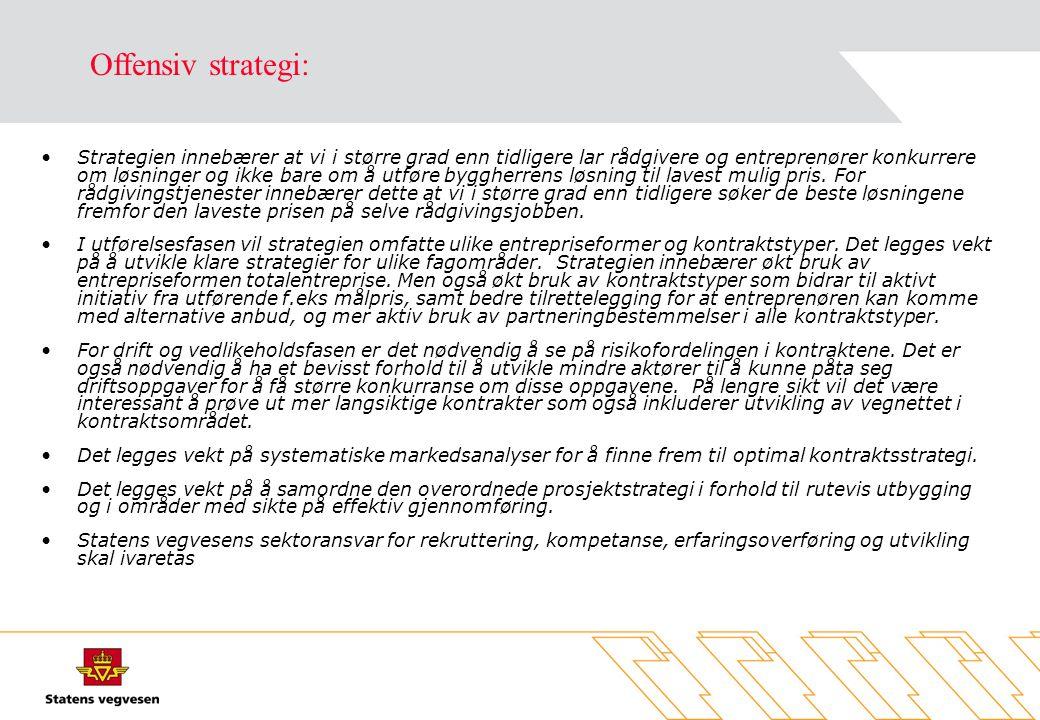 •Strategien innebærer at vi i større grad enn tidligere lar rådgivere og entreprenører konkurrere om løsninger og ikke bare om å utføre byggherrens løsning til lavest mulig pris.