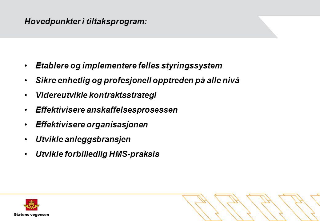 Hovedpunkter i tiltaksprogram: •Etablere og implementere felles styringssystem •Sikre enhetlig og profesjonell opptreden på alle nivå •Videreutvikle k
