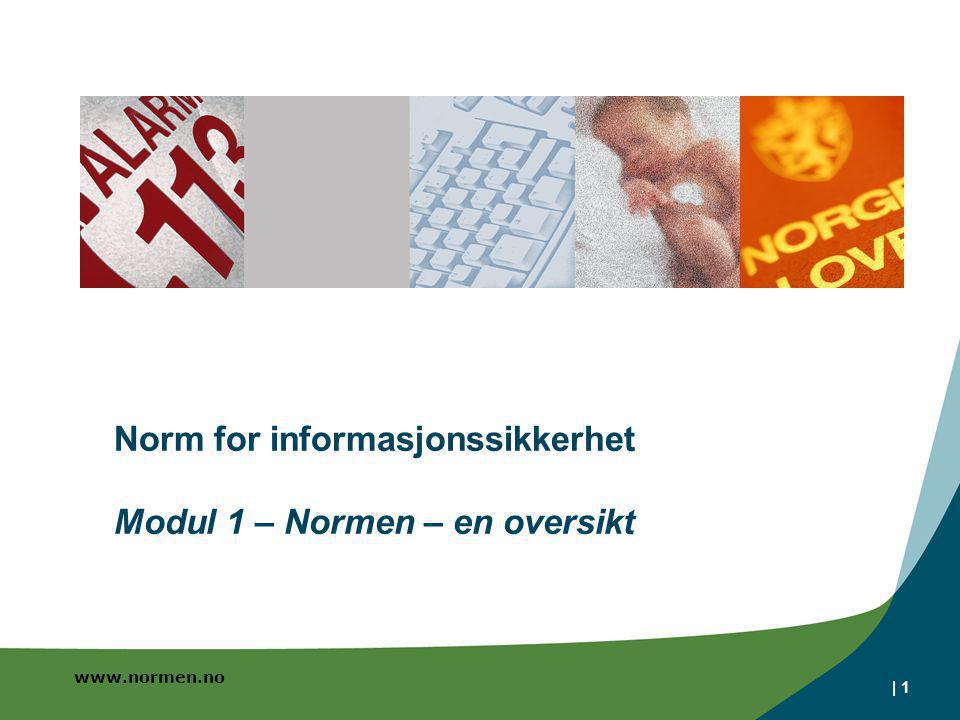 www.normen.no | 1 Norm for informasjonssikkerhet Modul 1 – Normen – en oversikt