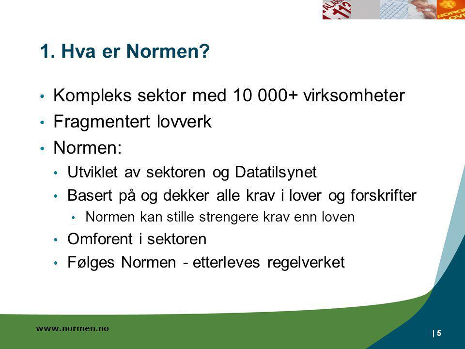 www.normen.no | 5 1. Hva er Normen? • Kompleks sektor med 10 000+ virksomheter • Fragmentert lovverk • Normen: • Utviklet av sektoren og Datatilsynet