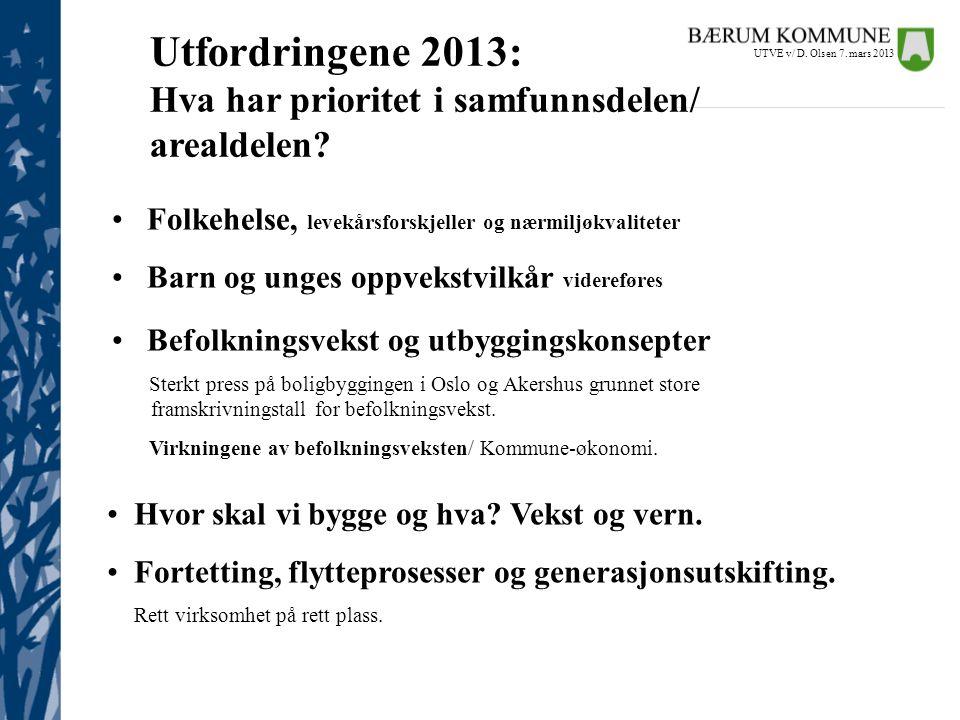 • Befolkningsvekst og utbyggingskonsepter Sterkt press på boligbyggingen i Oslo og Akershus grunnet store fra framframskrivningstall for befolkningsve
