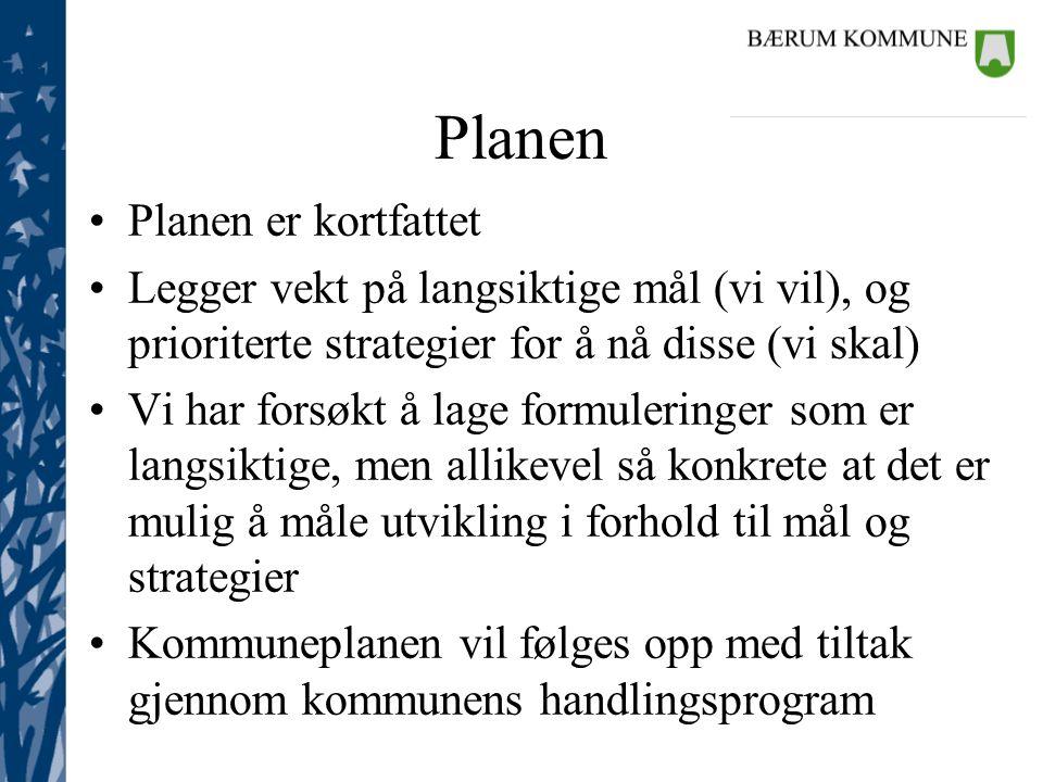 Planen •Planen er kortfattet •Legger vekt på langsiktige mål (vi vil), og prioriterte strategier for å nå disse (vi skal) •Vi har forsøkt å lage formu