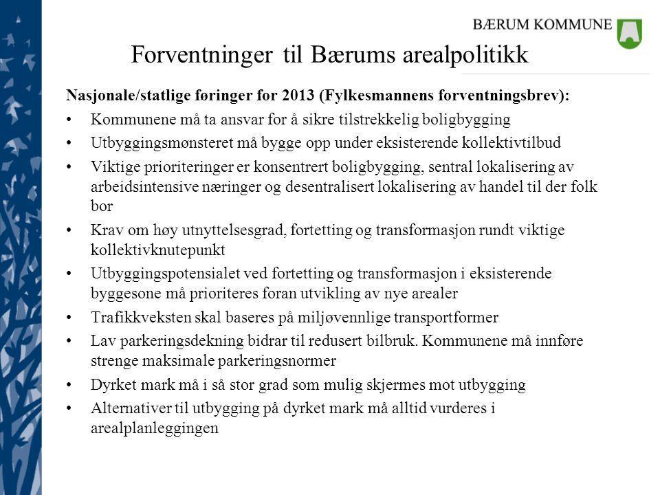 Forventninger til Bærums arealpolitikk Nasjonale/statlige føringer for 2013 (Fylkesmannens forventningsbrev): •Kommunene må ta ansvar for å sikre tils