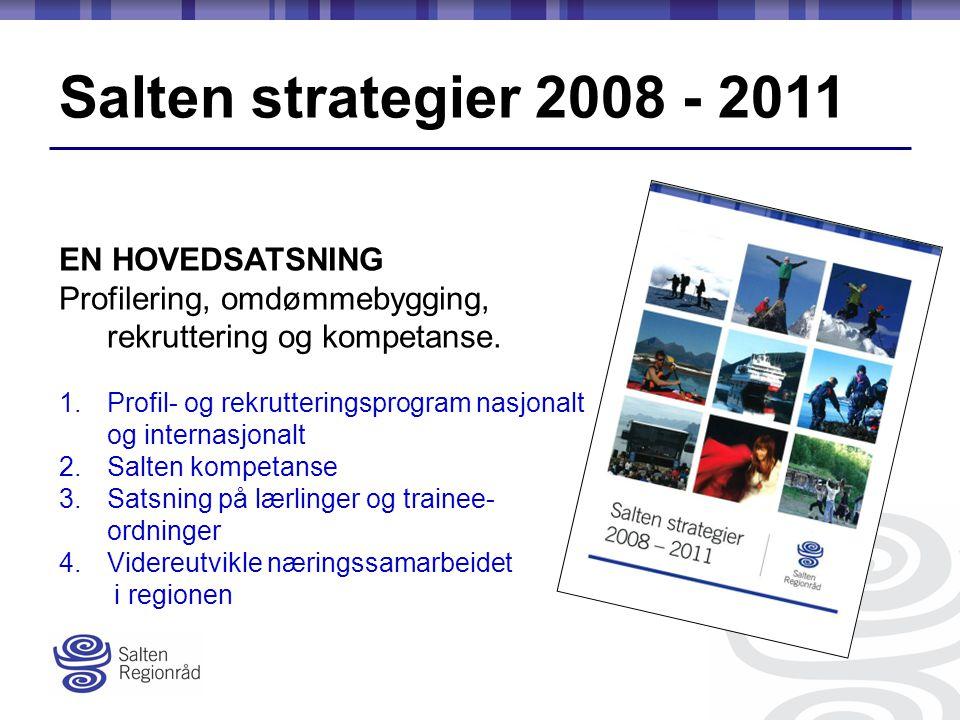 Salten strategier 2008 - 2011 EN HOVEDSATSNING Profilering, omdømmebygging, rekruttering og kompetanse.