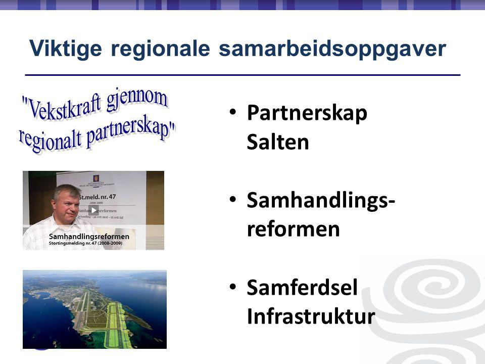 Viktige regionale samarbeidsoppgaver • Partnerskap Salten • Samhandlings- reformen • Samferdsel Infrastruktur