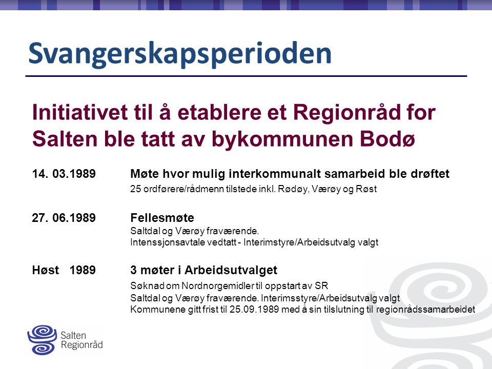Svangerskapsperioden Initiativet til å etablere et Regionråd for Salten ble tatt av bykommunen Bodø 14.