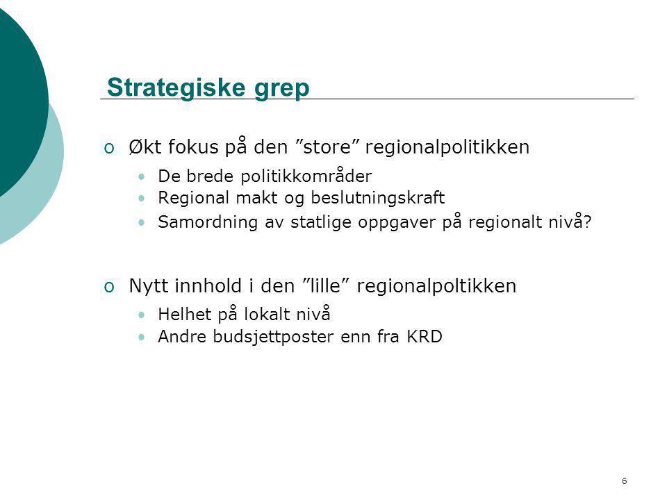 6 Strategiske grep oØkt fokus på den store regionalpolitikken •De brede politikkområder •Regional makt og beslutningskraft •Samordning av statlige oppgaver på regionalt nivå.