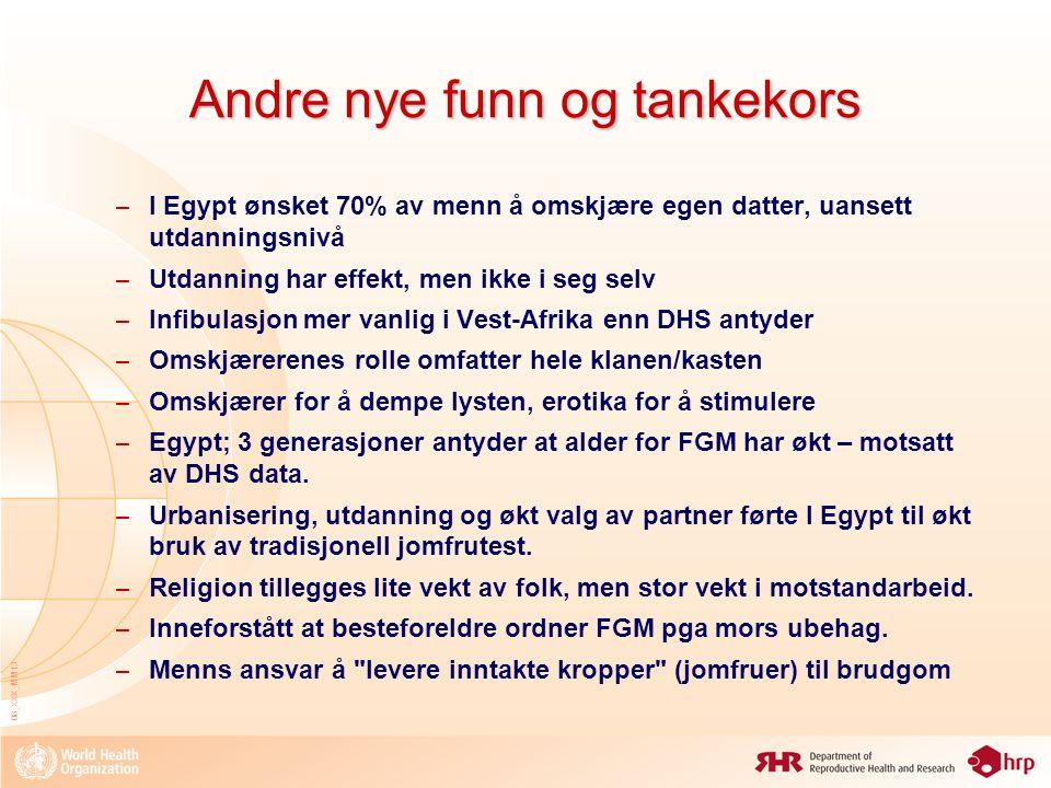08_XXX_MM13 Andre nye funn og tankekors – I Egypt ønsket 70% av menn å omskjære egen datter, uansett utdanningsnivå – Utdanning har effekt, men ikke i