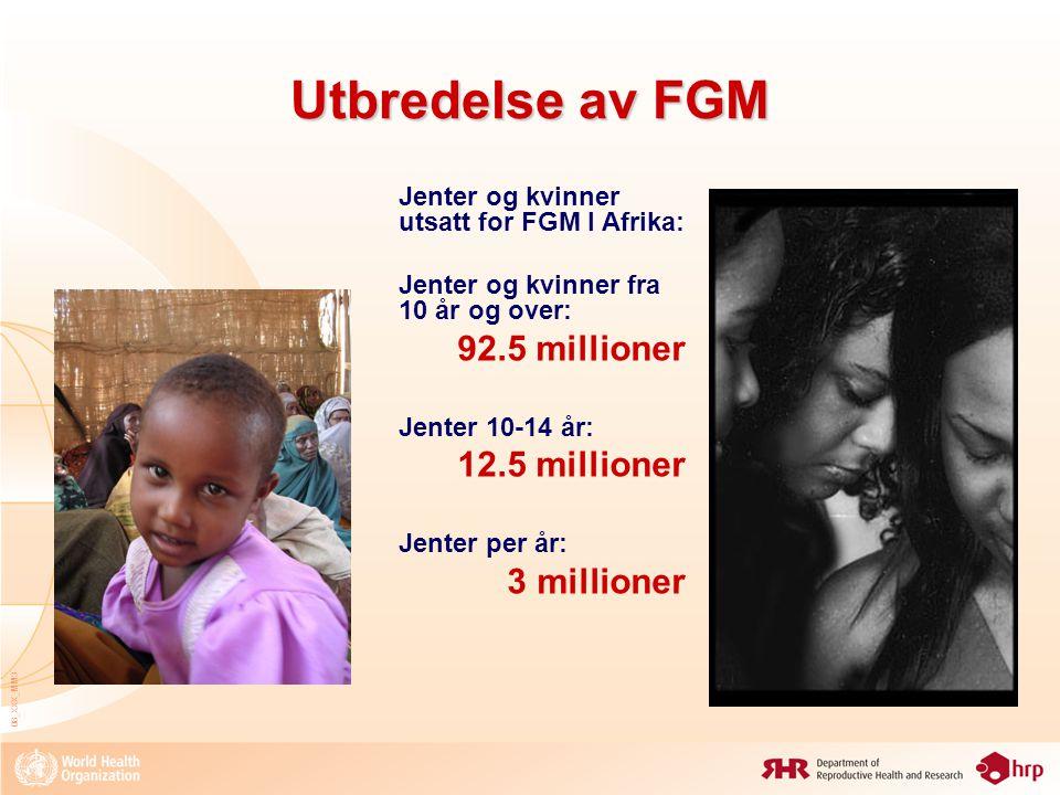 08_XXX_MM3 Utbredelse av FGM Jenter og kvinner utsatt for FGM I Afrika: Jenter og kvinner fra 10 år og over: 92.5 millioner Jenter 10-14 år: 12.5 mill