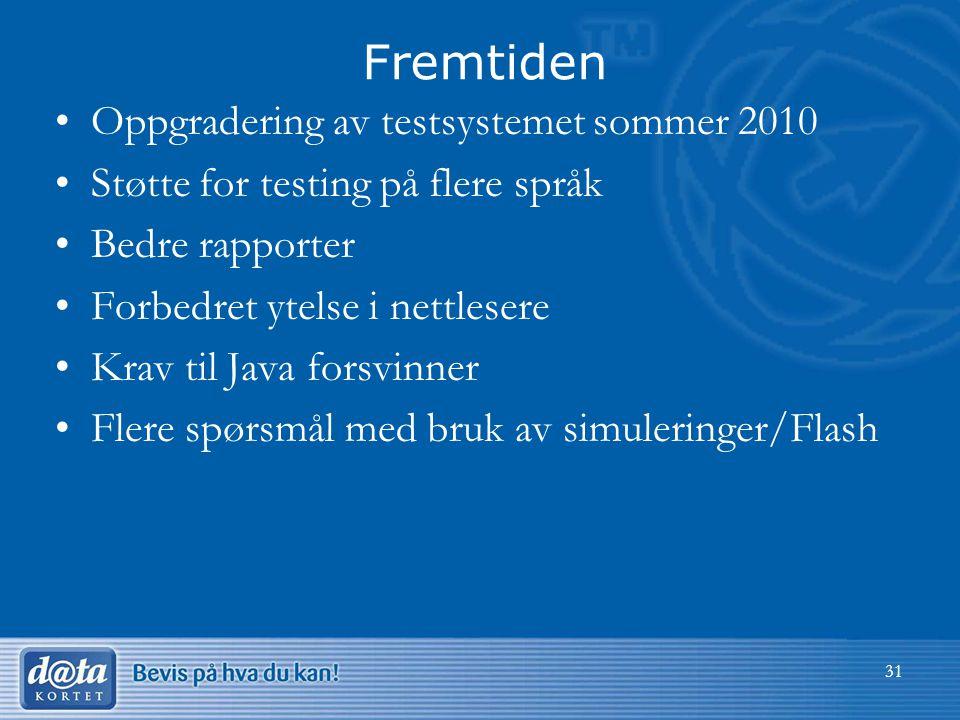 Fremtiden •Oppgradering av testsystemet sommer 2010 •Støtte for testing på flere språk •Bedre rapporter •Forbedret ytelse i nettlesere •Krav til Java forsvinner •Flere spørsmål med bruk av simuleringer/Flash 31
