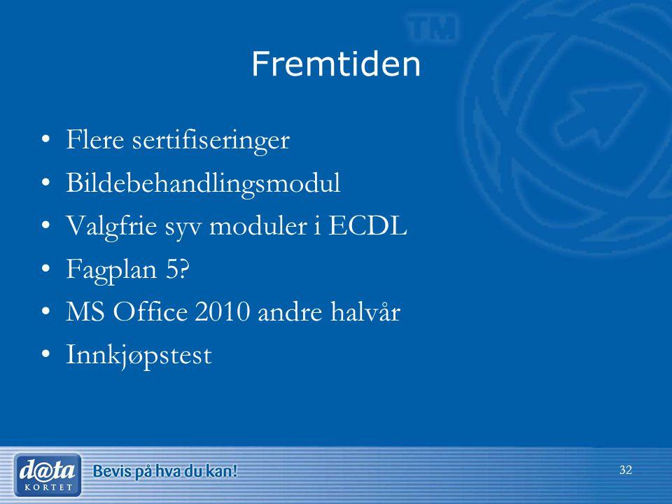 Fremtiden •Flere sertifiseringer •Bildebehandlingsmodul •Valgfrie syv moduler i ECDL •Fagplan 5? •MS Office 2010 andre halvår •Innkjøpstest 32