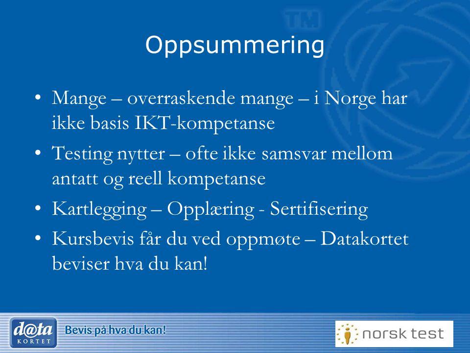 Oppsummering •Mange – overraskende mange – i Norge har ikke basis IKT-kompetanse •Testing nytter – ofte ikke samsvar mellom antatt og reell kompetanse •Kartlegging – Opplæring - Sertifisering •Kursbevis får du ved oppmøte – Datakortet beviser hva du kan!
