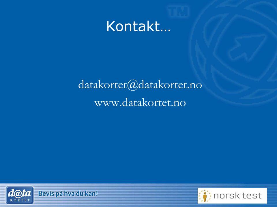 Kontakt… datakortet@datakortet.no www.datakortet.no