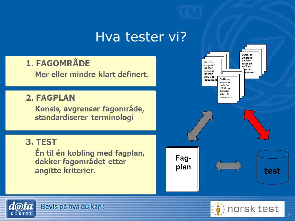 4 Hva tester vi.1. FAGOMRÅDE Mer eller mindre klart definert.