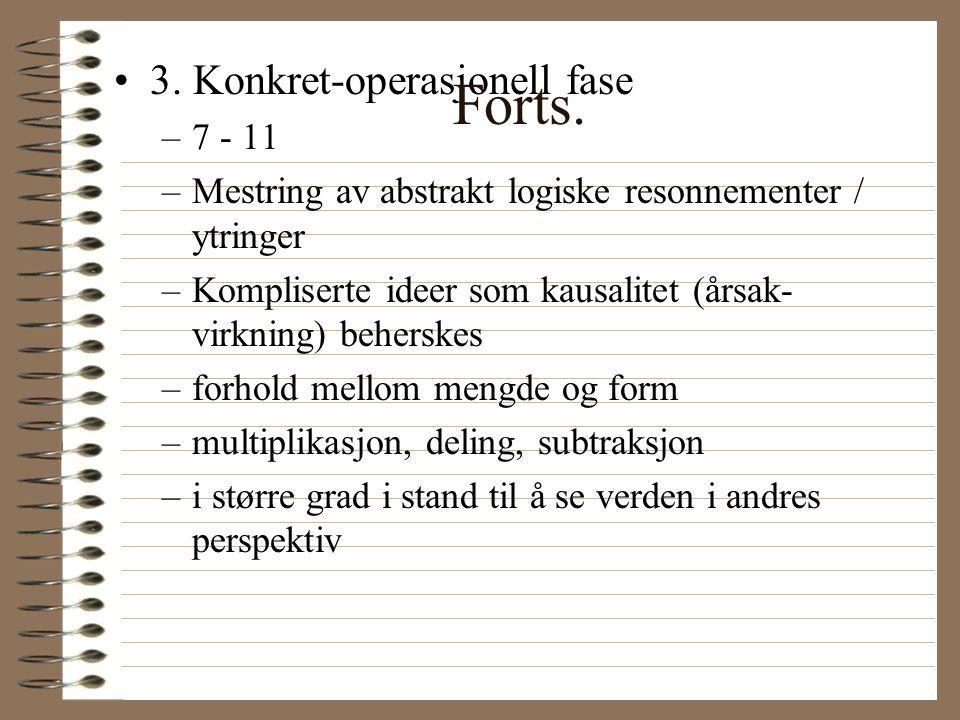 Piagets teori om kognitiv utvikling - et eksempel •1.