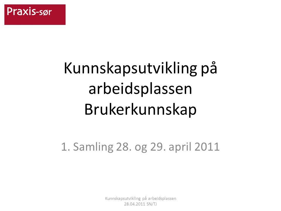 Kunnskapsutvikling på arbeidsplassen Brukerkunnskap 1. Samling 28. og 29. april 2011 Kunnskapsutvikling på arbeidsplassen 28.04.2011 SN/TJ