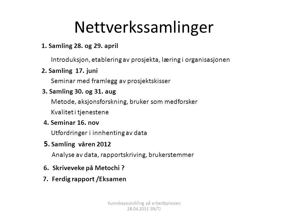 Nettverkssamlinger 1. Samling 28. og 29. april Introduksjon, etablering av prosjekta, læring i organisasjonen 2. Samling 17. juni Seminar med framlegg