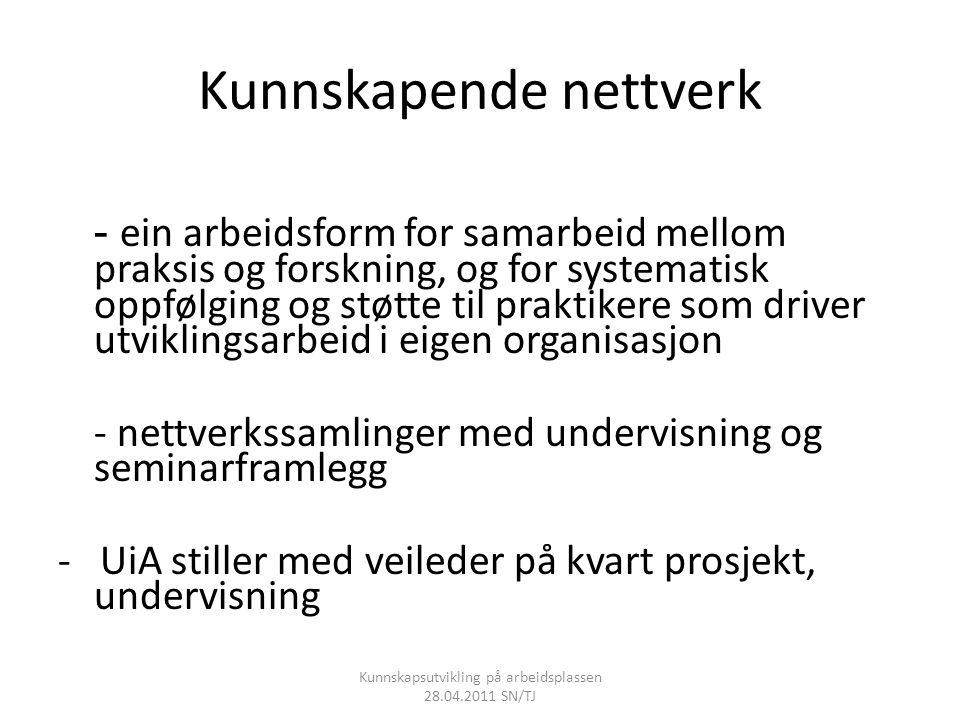 Kunnskapende nettverk - ein arbeidsform for samarbeid mellom praksis og forskning, og for systematisk oppfølging og støtte til praktikere som driver u