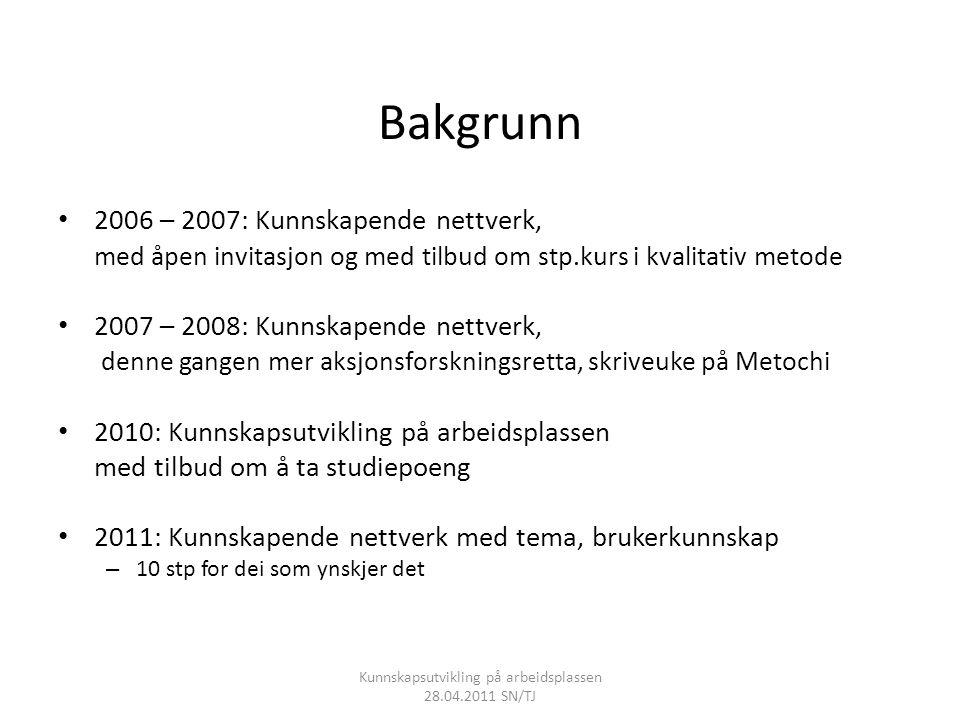 Bakgrunn • 2006 – 2007: Kunnskapende nettverk, med åpen invitasjon og med tilbud om stp.kurs i kvalitativ metode • 2007 – 2008: Kunnskapende nettverk,