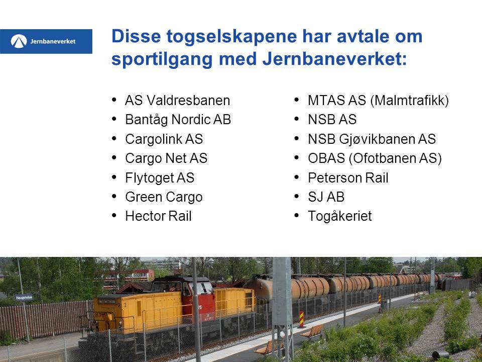 Disse togselskapene har avtale om sportilgang med Jernbaneverket: • AS Valdresbanen • Bantåg Nordic AB • Cargolink AS • Cargo Net AS • Flytoget AS • Green Cargo • Hector Rail • MTAS AS (Malmtrafikk) • NSB AS • NSB Gjøvikbanen AS • OBAS (Ofotbanen AS) • Peterson Rail • SJ AB • Togåkeriet