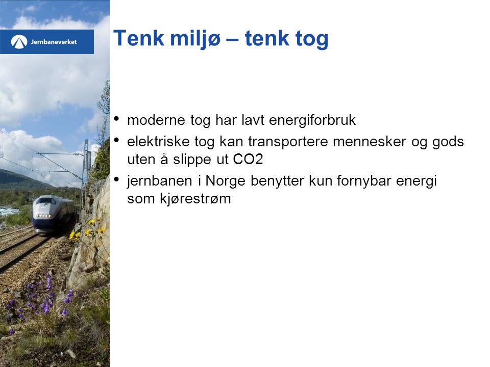 Tenk miljø – tenk tog • moderne tog har lavt energiforbruk • elektriske tog kan transportere mennesker og gods uten å slippe ut CO2 • jernbanen i Norge benytter kun fornybar energi som kjørestrøm