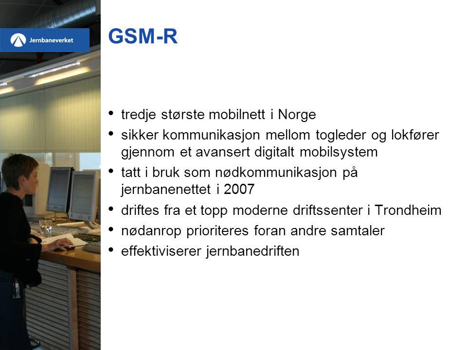 GSM-R • tredje største mobilnett i Norge • sikker kommunikasjon mellom togleder og lokfører gjennom et avansert digitalt mobilsystem • tatt i bruk som nødkommunikasjon på jernbanenettet i 2007 • driftes fra et topp moderne driftssenter i Trondheim • nødanrop prioriteres foran andre samtaler • effektiviserer jernbanedriften