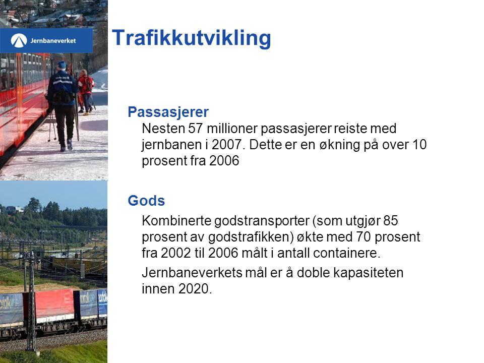 Trafikkutvikling Passasjerer Nesten 57 millioner passasjerer reiste med jernbanen i 2007. Dette er en økning på over 10 prosent fra 2006 Gods Kombiner