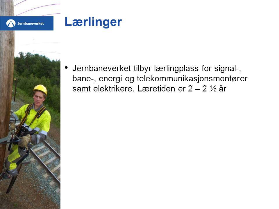 Lærlinger • Jernbaneverket tilbyr lærlingplass for signal-, bane-, energi og telekommunikasjonsmontører samt elektrikere. Læretiden er 2 – 2 ½ år