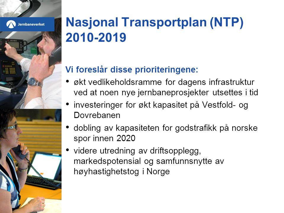 Nasjonal Transportplan (NTP) 2010-2019 Vi foreslår disse prioriteringene: • økt vedlikeholdsramme for dagens infrastruktur ved at noen nye jernbaneprosjekter utsettes i tid • investeringer for økt kapasitet på Vestfold- og Dovrebanen • dobling av kapasiteten for godstrafikk på norske spor innen 2020 • videre utredning av driftsopplegg, markedspotensial og samfunnsnytte av høyhastighetstog i Norge