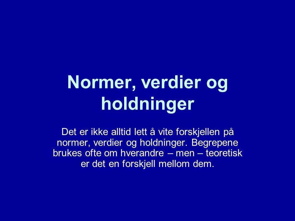Normer Normer har noe med rett og urett, riktig og galt å gjøre.