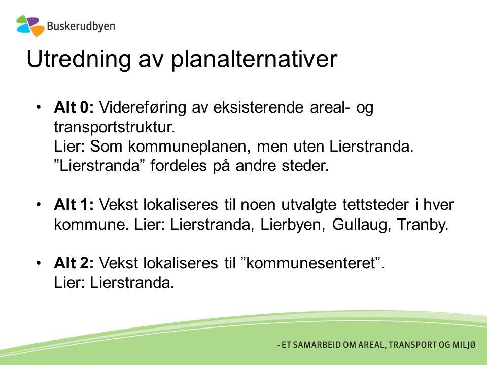 """Utredning av planalternativer •Alt 0: Videreføring av eksisterende areal- og transportstruktur. Lier: Som kommuneplanen, men uten Lierstranda. """"Lierst"""