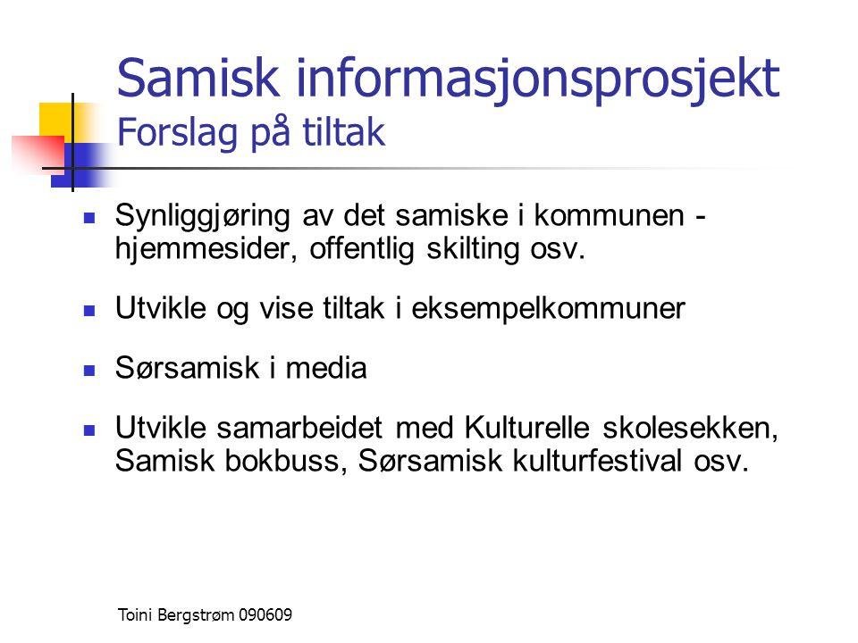 Samisk informasjonsprosjekt Forslag på tiltak  Synliggjøring av det samiske i kommunen - hjemmesider, offentlig skilting osv.  Utvikle og vise tilta