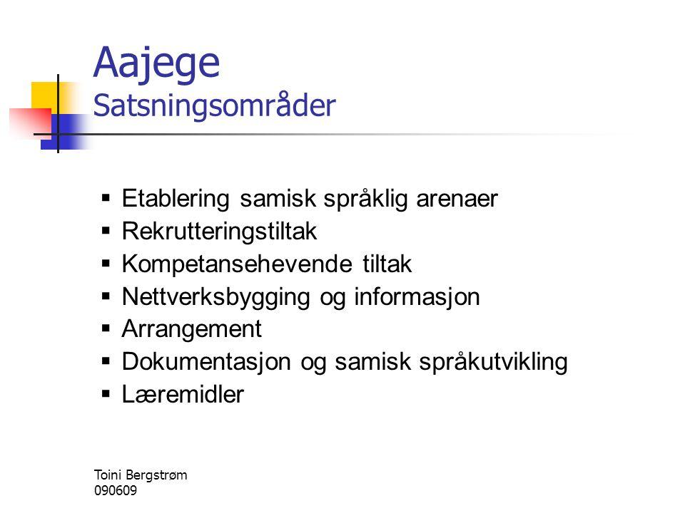 Aajege Satsningsområder  Etablering samisk språklig arenaer  Rekrutteringstiltak  Kompetansehevende tiltak  Nettverksbygging og informasjon  Arra