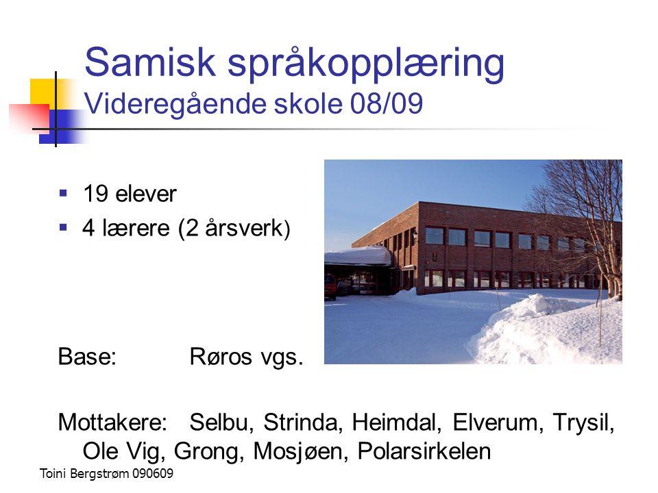 Samisk språkopplæring Videregående skole 08/09  19 elever  4 lærere (2 årsverk ) Base:Røros vgs. Mottakere:Selbu, Strinda, Heimdal, Elverum, Trysil,
