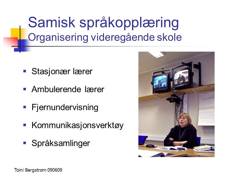 Samisk språkopplæring Organisering videregående skole  Stasjonær lærer  Ambulerende lærer  Fjernundervisning  Kommunikasjonsverktøy  Språksamling