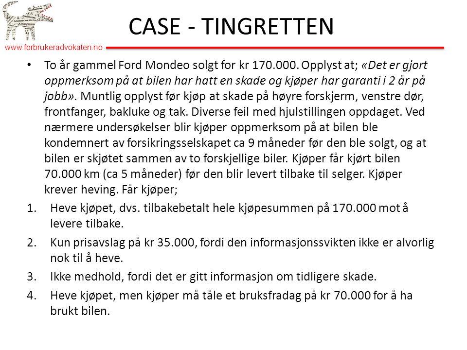 www.forbrukeradvokaten.no • To år gammel Ford Mondeo solgt for kr 170.000.