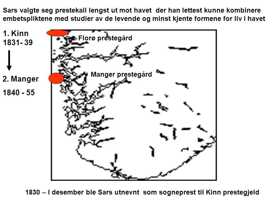 1. Kinn 1831- 39 2. Manger 1840 - 55 Sars valgte seg prestekall lengst ut mot havet der han lettest kunne kombinere embetspliktene med studier av de l