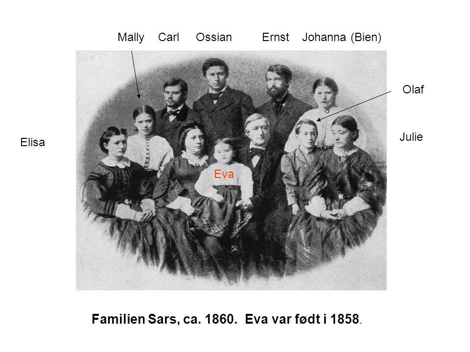 Familien Sars, ca. 1860. Eva var født i 1858. Eva Mally Carl Ossian Ernst Johanna (Bien) Elisa Julie Olaf