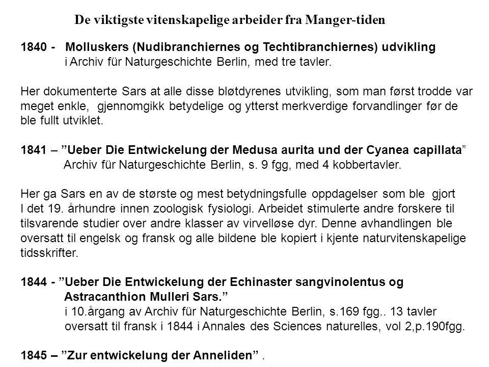 De viktigste vitenskapelige arbeider fra Manger-tiden 1840 - Molluskers (Nudibranchiernes og Techtibranchiernes) udvikling i Archiv für Naturgeschichte Berlin, med tre tavler.