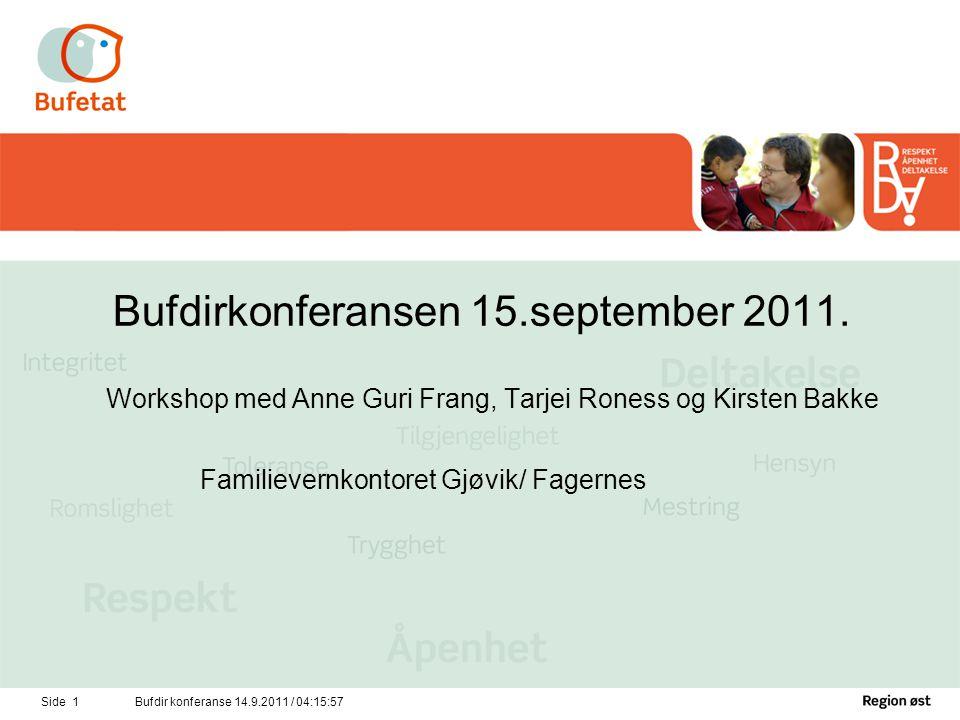 Side 2Bufdir konferanse 14.9.2011 / 04:17:34 •Familievernets modeller for å veilede og kompetanseheve andre tjenester.