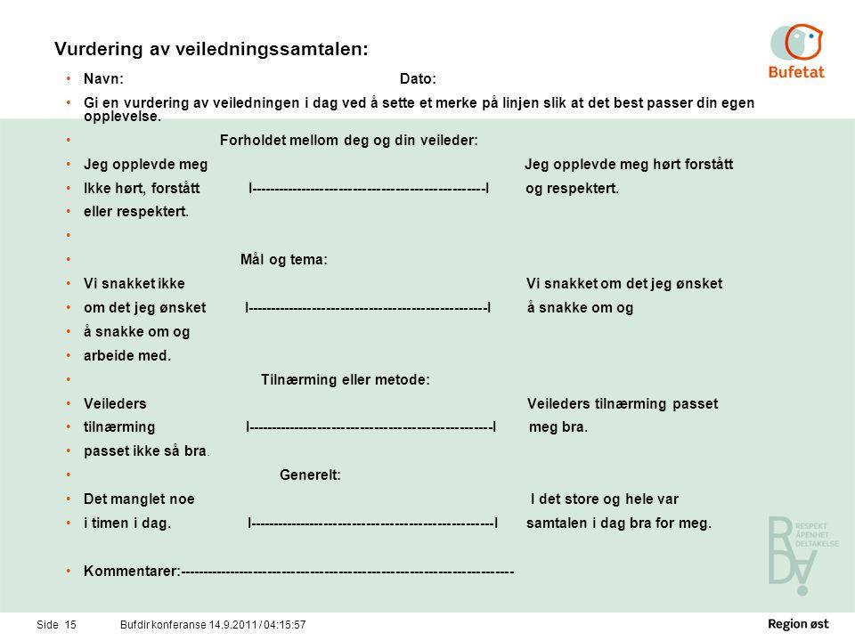 Side 16Bufdir konferanse 14.9.2011 / 04:17:34 Vurdering av utbytte av veiledningen.