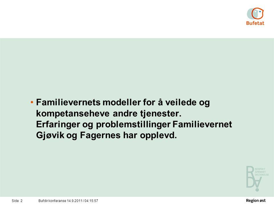 Side 3Bufdir konferanse 14.9.2011 / 04:17:34 Veiledning: •Familievernkontoret Gjøvik Fagernes har hatt en tradisjon på å veilede førstelinjetjenesten og andre instanser siden midten på 80 tallet.