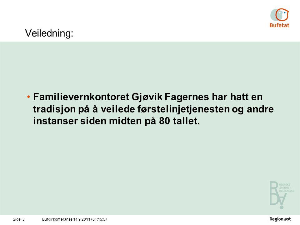Side 4Bufdir konferanse 14.9.2011 / 04:17:34 Veiledningsoppdrag har vært: •Barnevernet og sosialtjenesten.
