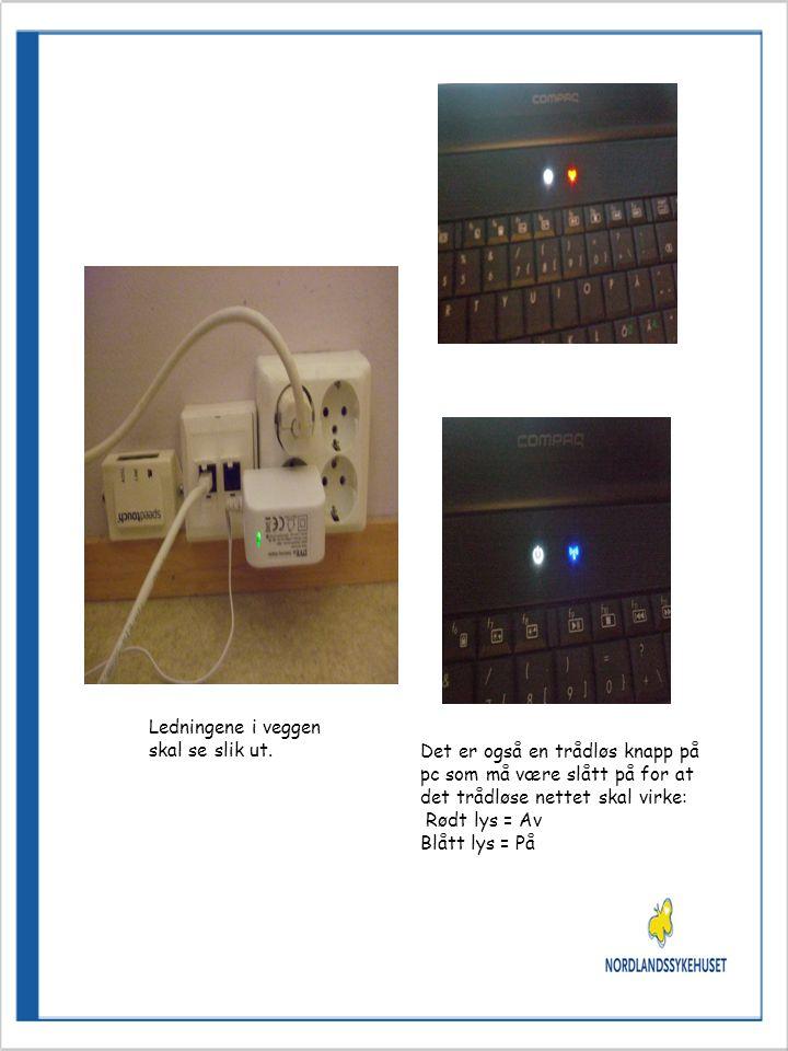 Det er også en trådløs knapp på pc som må være slått på for at det trådløse nettet skal virke: Rødt lys = Av Blått lys = På Ledningene i veggen skal se slik ut.