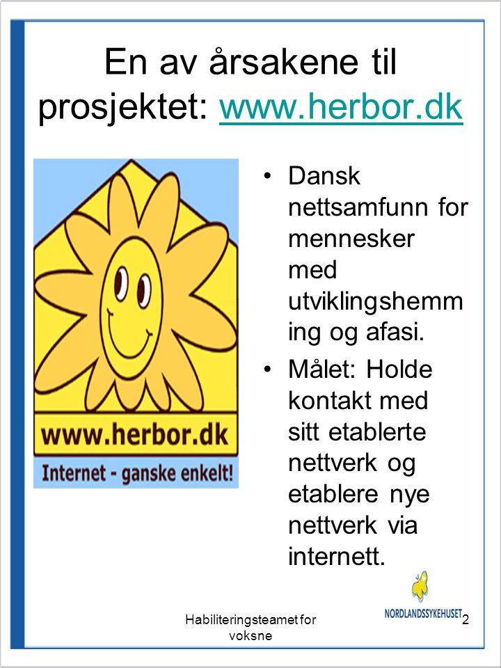 2 En av årsakene til prosjektet: www.herbor.dkwww.herbor.dk •Dansk nettsamfunn for mennesker med utviklingshemm ing og afasi.