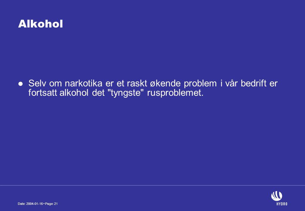 Date: 2004-01-16 • Page: 21 Alkohol  Selv om narkotika er et raskt økende problem i vår bedrift er fortsatt alkohol det tyngste rusproblemet.