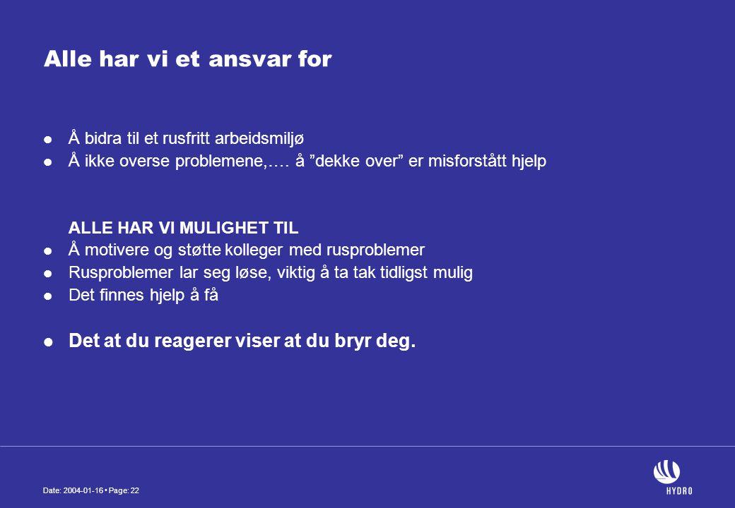 Date: 2004-01-16 • Page: 22 Alle har vi et ansvar for  Å bidra til et rusfritt arbeidsmiljø  Å ikke overse problemene,….