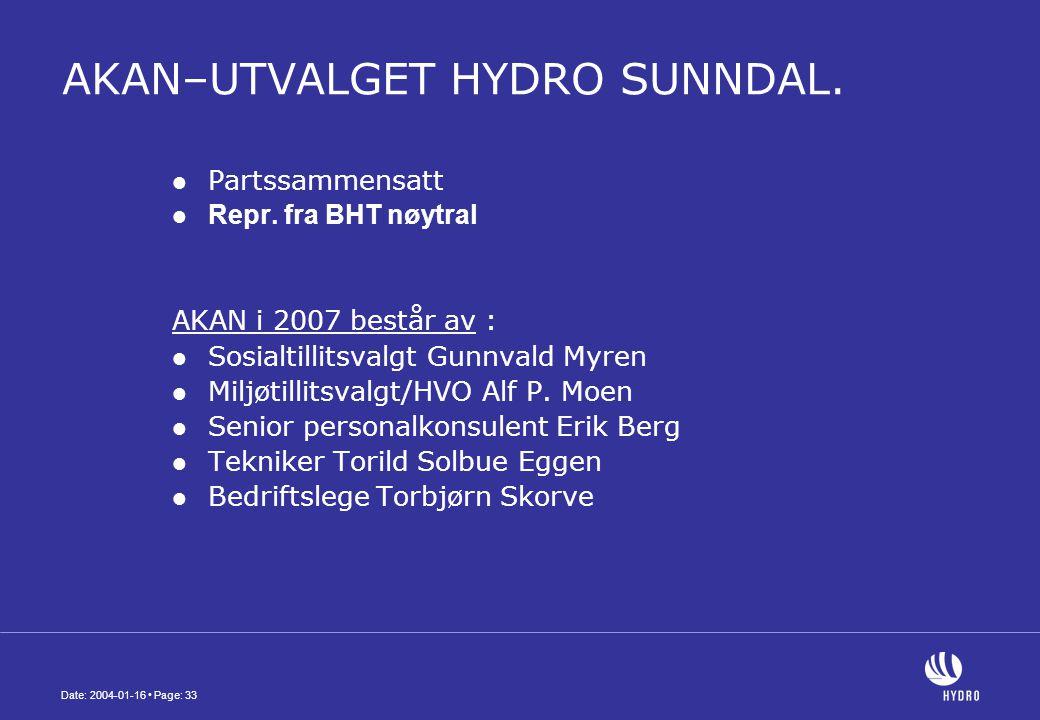 Date: 2004-01-16 • Page: 33 AKAN–UTVALGET HYDRO SUNNDAL.