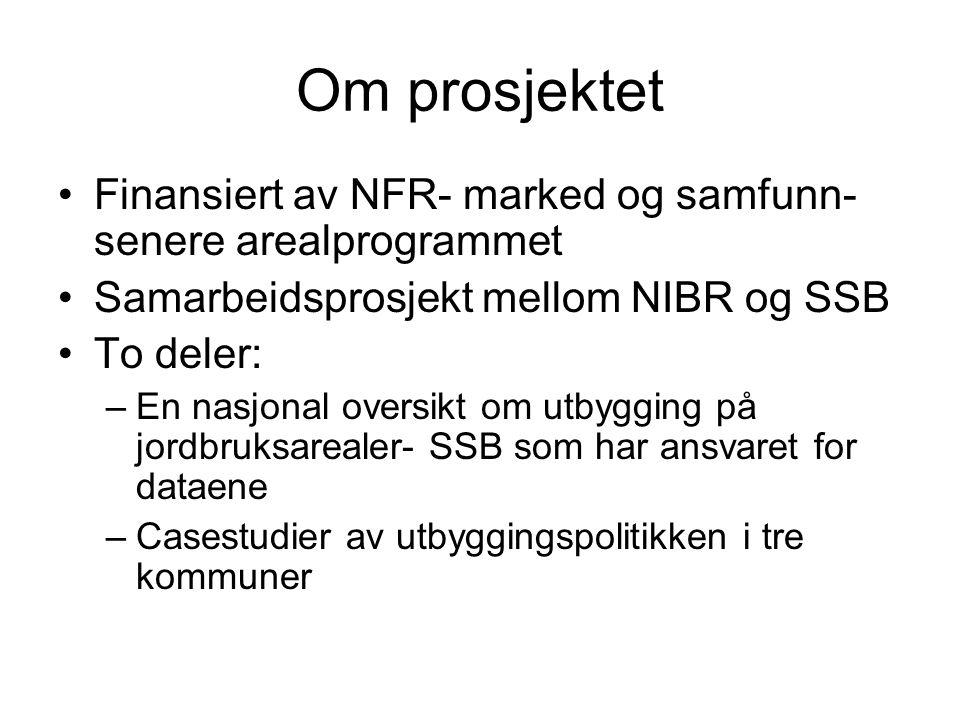 Om prosjektet •Finansiert av NFR- marked og samfunn- senere arealprogrammet •Samarbeidsprosjekt mellom NIBR og SSB •To deler: –En nasjonal oversikt om